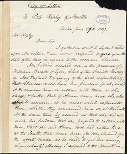 Copy of letter from Amos Augustus Phelps, Boston, to Henry Jones Ripley, June 27th 1837