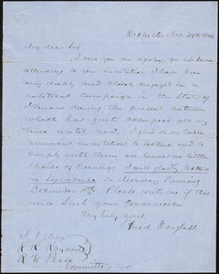 Letter from Frederick Douglass, Rochester, to Samuel Joseph May, Rev. R. R. Raymond, and R. W. Pease, Nov. 29th 1854