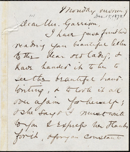 Letter from Abby Williams May, to William Lloyd Garrison, [December 15, 1878]