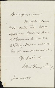 Letter from Ellis Gray Loring, to William Lloyd Garrison, Jan[uary] 15 [18]58