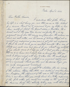 Copy of letter from Amos Augustus Phelps, Boston, to [John F.?] Emerson, April 2. 1838