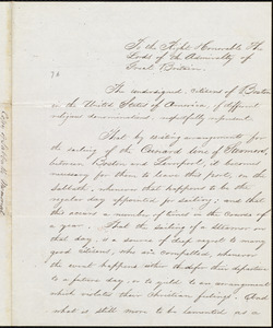 Copy of letter, [Boston], to Great Britain. Admiralty, [1841]