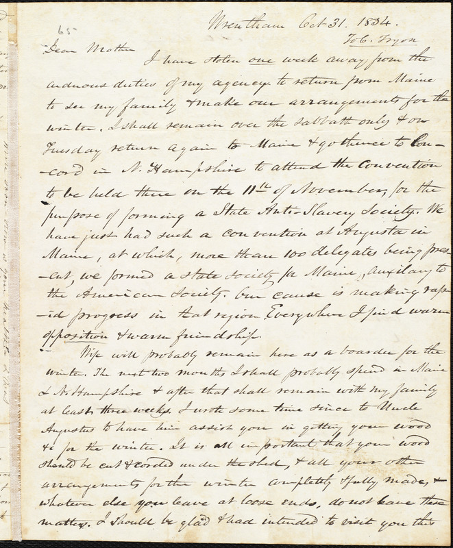 Letter from Amos Augustus Phelps, Wrentham, [Mass.], to Clarissa Tryon, Oct 31, 1834