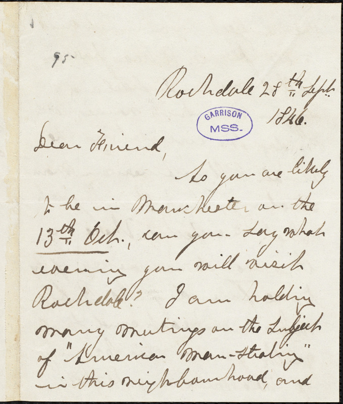 Letter from William Logan, Rochdale, [England,] to William Lloyd Garrison, 28th Sept[ember] 1846