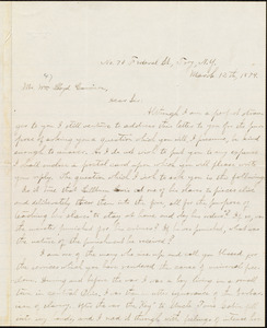 Letter from A. Pflueger, Troy, N.Y., to William Lloyd Garrison, March 12th, 1874