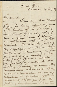 Letter from Arthur Guthrie, Ardrossan, [Scotland], to William Logan, 20 July 1867
