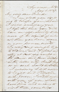Letter from Samuel Joseph May, Syracuse, N.Y., to William Lloyd Garrison, May 1, 1867