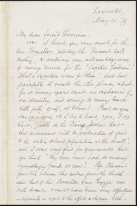 Letter from Samuel May, Jr., Leicester, [Mass.], to William Lloyd Garrison, May 4. [18]79