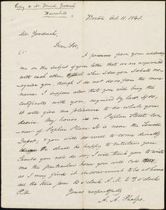Copy of letter from Amos Augustus Phelps, Boston, to Daniel Goodrich, Oct. 11. 1841
