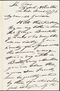 Letter from Joseph Lupton, Leeds, [England], to William Lloyd Garrison, March 27 / [18]76