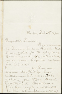 Letter from William Cooper Nell, Boston, [Mass.], to William Lloyd Garrison, Feb[ruary] 16th, 1870