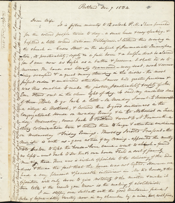 Letter from Amos Augustus Phelps, Portland (Me.), to Charlotte Phelps, Dec 7, 1834