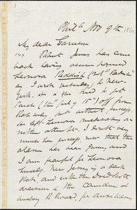 Letter from James Miller M'Kim, Phil[adelphia], [Pa.], to William Lloyd Garrison, Nov[ember] 9th [1860]