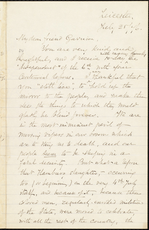 Letter from Samuel May, Jr., Leicester, [Mass.], to William Lloyd Garrison, July 25 / [18]76