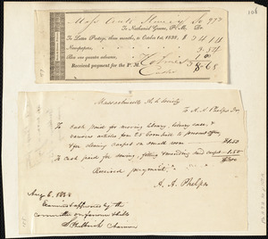 Receipted bills to the Massachusetts Anti-Slavery Society from Amos Augustus Phelps and Nathaniel Greene