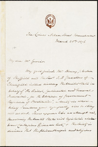 Letter from S. Alfred Steinthal, Manchester, [England], to William Lloyd Garrison, March 30th. 1876