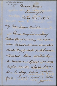 Letter from George Thompson, Beech Grove, [England], to Amelia Thompson Chesson, Mar[ch] 24. 1870