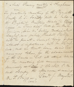 Letter from Jairus Lincoln, Hingham, [Mass.], to William Lloyd Garrison, Oct[ober] 26, 1841