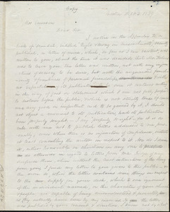 Copy of letter from Amos Augustus Phelps, Boston, to John F. Emerson, Sept. 2. 1839