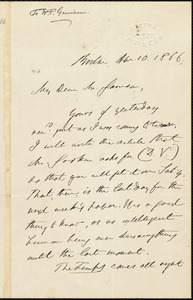 Letter from Edmund Quincy, Boston, [Mass.], to William Lloyd Garrison, Apr[il] 10. 1866