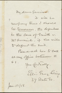 Letter from Ellis Gray Loring, to William Lloyd Garrison, Jan[uary] 13 / [18]58