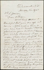 Letter from Henry Clarke Wright, Portsmouth, N.H., to William Lloyd Garrison, Nov. 23 / [18]67