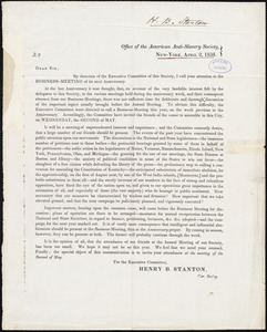 Letter from American Anti-Slavery Society Executive Committee, New York, to Amos Augustus Phelps, April 2, 1838