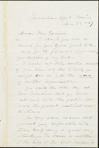 Letter from Lucy Stone, Kennebunkport, Me., to William Lloyd Garrison, Sep[tember] 22 - [18]69