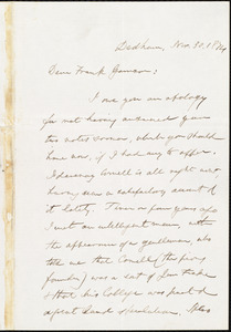 Letter from Edmund Quincy, Dedham, [Mass.], to Francis Jackson Garrison, Nov[ember] 30. 1874