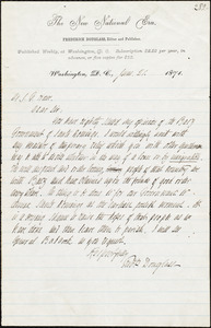Letter from Frederick Douglass, Washington D.C., to Samuel Gridley Howe, June 21, 1871