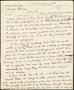 Copy of letter from Amos Augustus Phelps, Boston, to John Stocker Coffin Knowlton, March 9. 1838