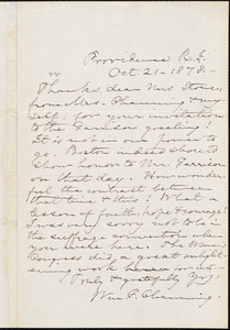 Letter from William Francis Channing, Providence, R.I., to Lucy Stone, Oct[ober] 21 - 1878