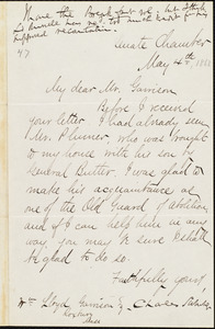Letter from Charles Sumner, [Washington, D.C.], to William Lloyd Garrison, May 4th [1868]