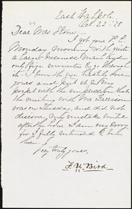 Letter from Francis William Bird, East Walpole, [Mass.], to Lucy Stone, Oct[ober] 22 - [18]78