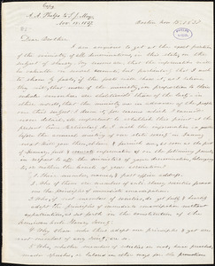 Copy of letter from Amos Augustus Phelps, Boston, to Samuel Joseph May, Nov 15. 1837