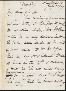Letter from Harriet Martineau, Ambleside, [England], to William Lloyd Garrison, July 21 / [18]67