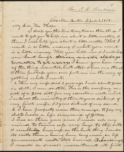 Letter from Isaac Richmond Barbour, Charlton, to Amos Augustus Phelps, April 3. 1839