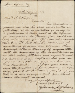 Letter from James Appleton, Portland, to Amos Augustus Phelps, Aug. 14, 1844