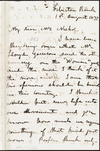 Letter from Mary Burton, [Edinburgh, Scotland], to Elizabeth Pease Nichol, 1st August 1877