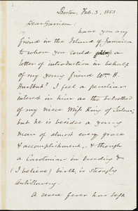 Letter from Ellis Gray Loring, Boston, [Mass.], to William Lloyd Garrison, Feb[ruary] 3, 1853