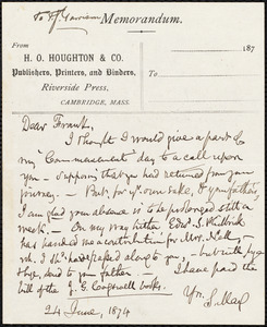 Letter from Samuel May, Jr., [Leicester, Mass.], to William Lloyd Garrison, 24 June, 1874