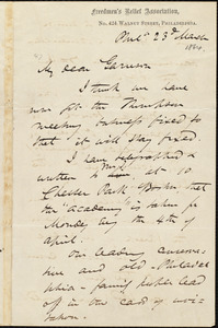 Letter from James Miller M'Kim, Phil[adelphi]a, [Pa.], to William Lloyd Garrison, 23d March [1864]