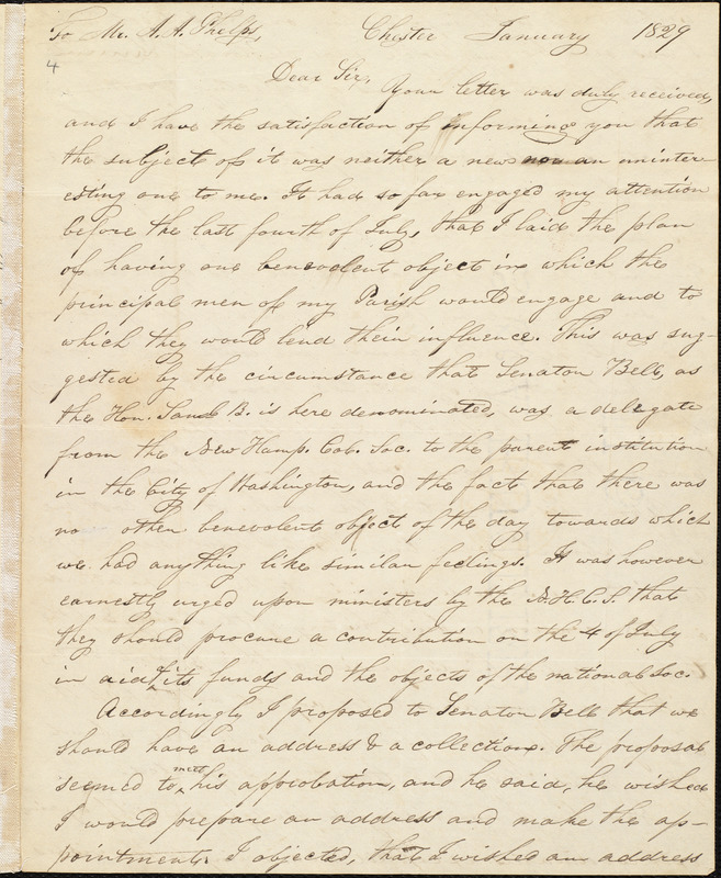 Letter from Joel R. Arnold, Chester, [N.H.], to Amos Augustus Phelps, January 1829