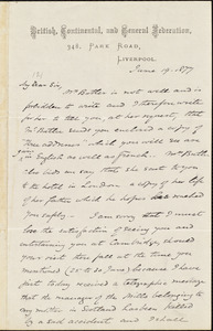 Letter from James Stuart, Liverpool, [England], to William Lloyd Garrison, June 19. 1877