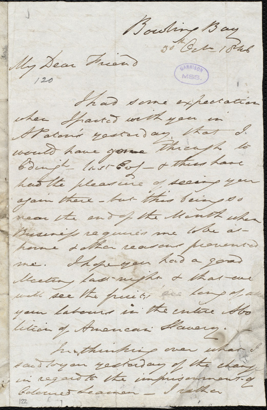 Letter from John Murray, Bowling Bay, to William Lloyd Garrison, 30th Oct[ober] 1846