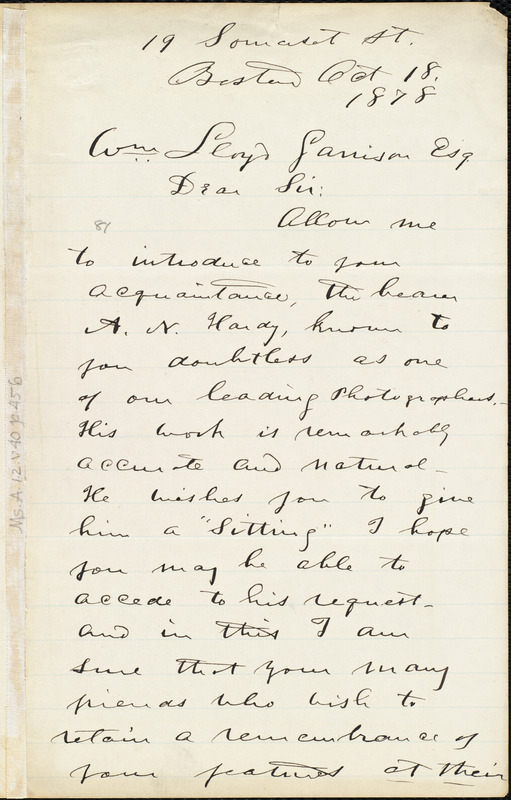 Letter from Rollin Heber, Boston, [Mass.], to William Lloyd Garrison, Oct[ober] 18. 1878