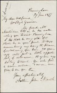 Letter from Arthur John Naish, Birmingham, [England], to William Lloyd Garrison, 19 June 1877