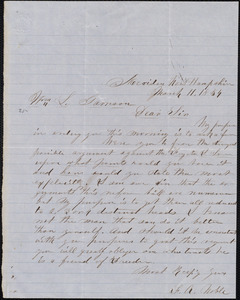 Letter from F. A. Noble, Meriden, [N.H.], to William Lloyd Garrison, March 11, 1854