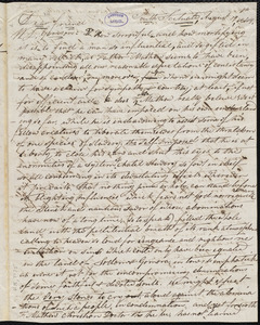Letter from Daniel Otis, South Scituate, [Mass.], to William Lloyd Garrison, August 19th, 1849
