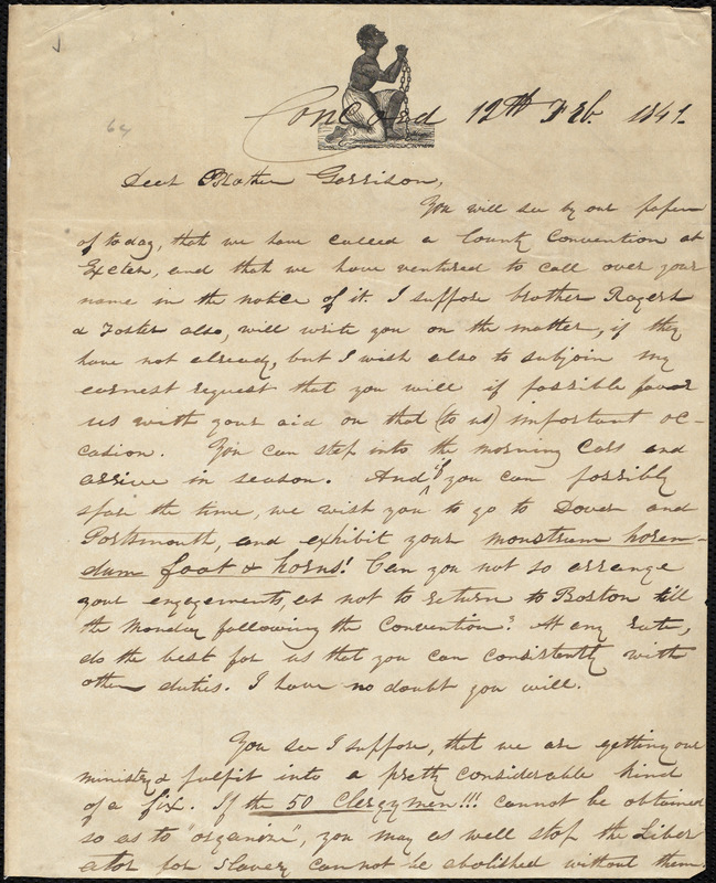 Letter from Parker Pillsbury, Concord, [N.H.], to William Lloyd Garrison, 12th Feb[ruary] 1841
